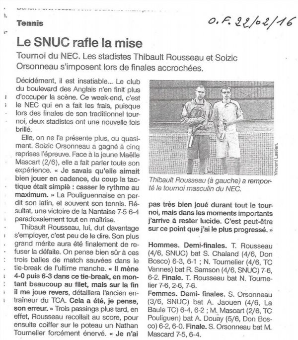 2016 – Open du NEC